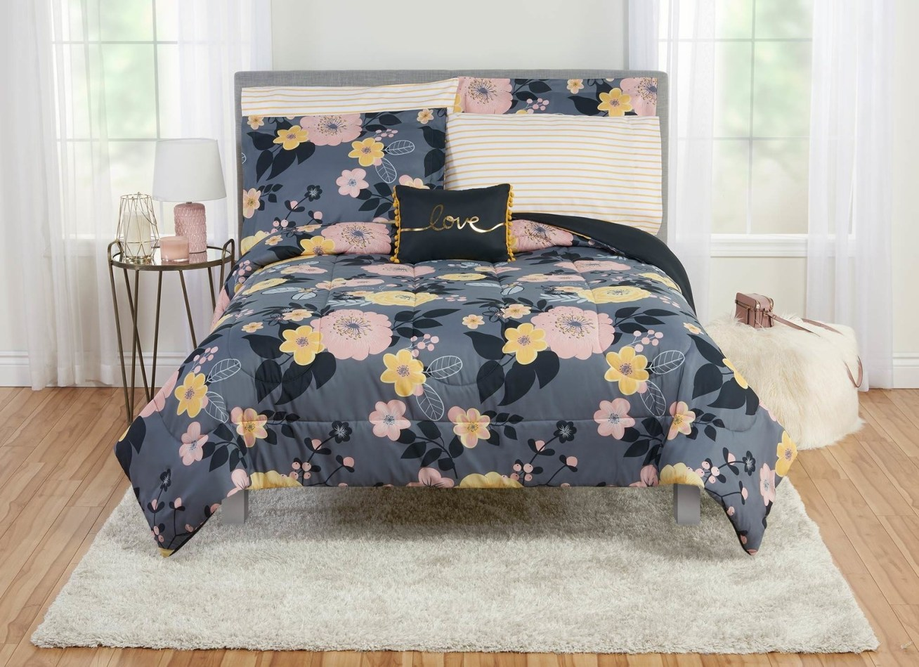 Includes a comforter, sheet set, shams, and a throw pillow (items vary based on the size of the set).Price: .36+ (available in four sizes)