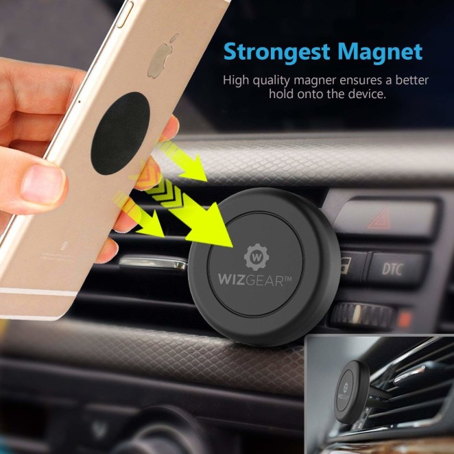 """Promising review: """"One of the best purchases I have ever made. Seriously. I have an iPhone 6 Plus, and it attaches onto the mount very firmly. The mount also attaches firmly into my air vent. No jiggling or slipping. I can touch, swipe, etc., on my phone screen without any risk of the phone falling or sliding."""" —SusieGet it on Amazon for $7.79."""