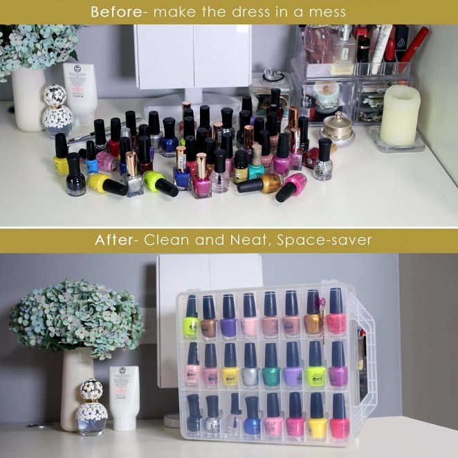 """Promising review: """"I really like seeing all of my nail polishes easily. I thought the price was a bit much, but it is well made and helpful. The compartments are 3.5"""" tall by nearly 1.5"""" wide. It fits larger bottles such as OPI and Orly well. Nicole bottles fit but just barely. The last row on each side is adjustable if you have a few larger bottles otherwise, three regular bottles of polish will fit in that row."""" —JBGet it from Amazon for $24.99 (available in three colors)."""