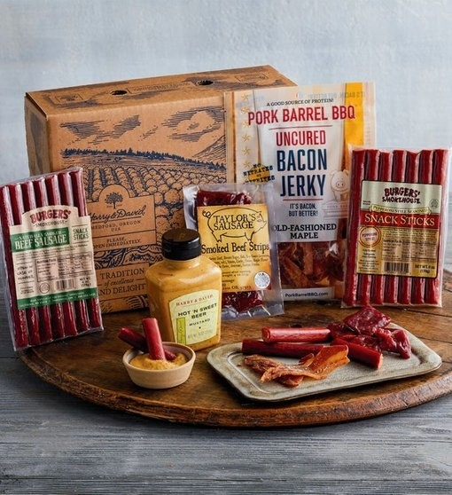 The box includes Taylor's Sausage smoked beef strips, pepperoni snack sticks, beef sausage sticks, uncured old-fashioned maple bacon jerky, and hot and sweet beer mustard to bring it all together. Get it from Harry and David for $39.99. Check out the rest of their Father's Day gifts.