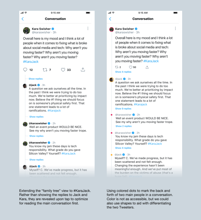 """Twitter is exploring a new design for what it calls """"replystorms,"""" or a conversation involving a back-and-forth between two people, to make them easier to read."""
