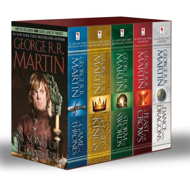 "The set comes with A Game of Thrones, A Clash of Kings, A Storm of Swords, A Feast of Crows, and A Dance with Dragons.Promising review: ""I am a big fan of the HBO series and decided I wanted to read the books. I have gotten through the first so far and it is incredible. I find I have to Google characters every now and then because there are so many, but it is very nice to be able to put a face to each person. I am very excited to continue reading and am very happy with this boxed set. I even purchased another to give to my dad as a gift!"" —samiam46Get it from Amazon for $29.97."