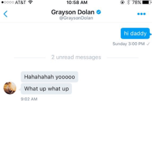 A fan who had a group chat with Grayson shared a screenshot he sent them. It was between Grayson and James.