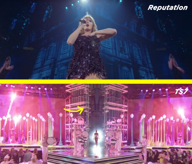 """A very similar building could be seen falling into disrepair on the screen during the Reputation Tour, when Taylor sang the words """"my castle crumbled overnight""""."""