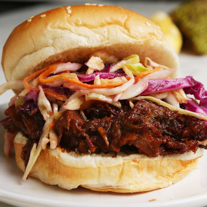 This sandwich uses jackfruit to imitate pulled pork and the results are scrumptious. Get the sandwich recipe here.