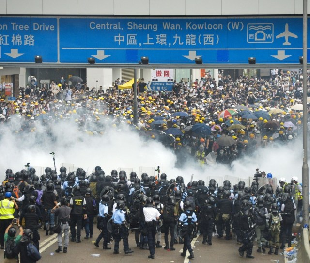 Protesters Clash With Riot Police Near Hong Kongs Legislative Council