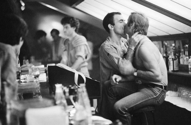 Two men embrace in Paris, July 1979.