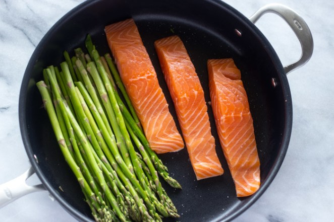 This dish goes from prep to plate in no time — and everything cooks in one pan.Recipe: 15-Minute Lemon Garlic Salmon and Asparagus