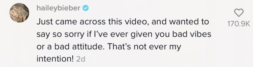 Screenshot of Hailey Bieber apologizing