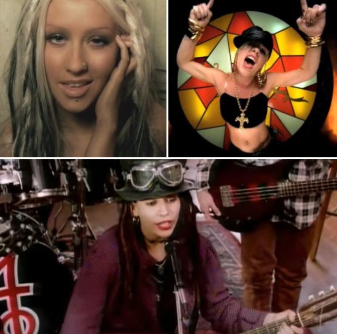 """Christina Aguilera singing in the """"Beautiful"""" music video; Pink dancing in the """"Get the Party Started"""" music video; Linda Perry playing guitar in the """"What's Up?"""" music video by 4 Non Blondes"""