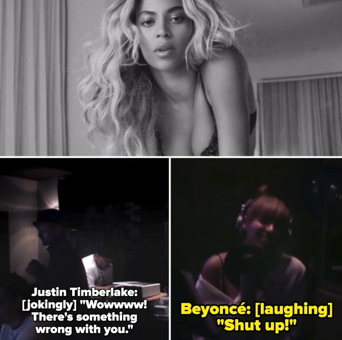 """Beyoncé singing in """"Rocket"""" music video; Justin Timberlake in the recording studio, jokingly telling Beyoncé: """"Wow! There's something wrong with you"""" and she responds laughing: """"Shut up!"""""""