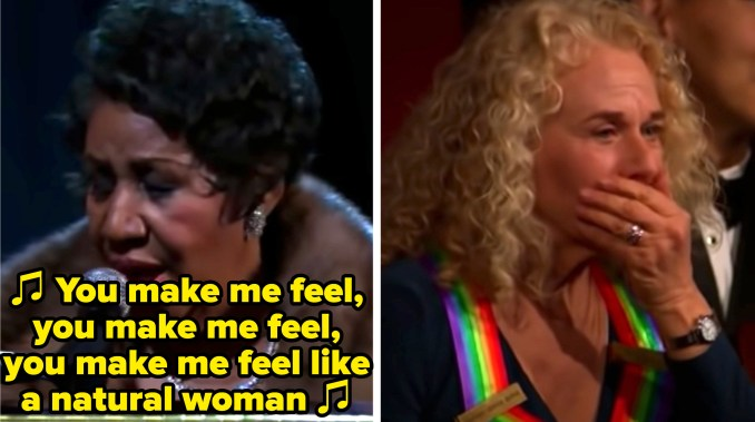 """Aretha Franklin singing """"Natural Woman"""" at the Kennedy Center Honors, while Carole King looks on in amazement"""