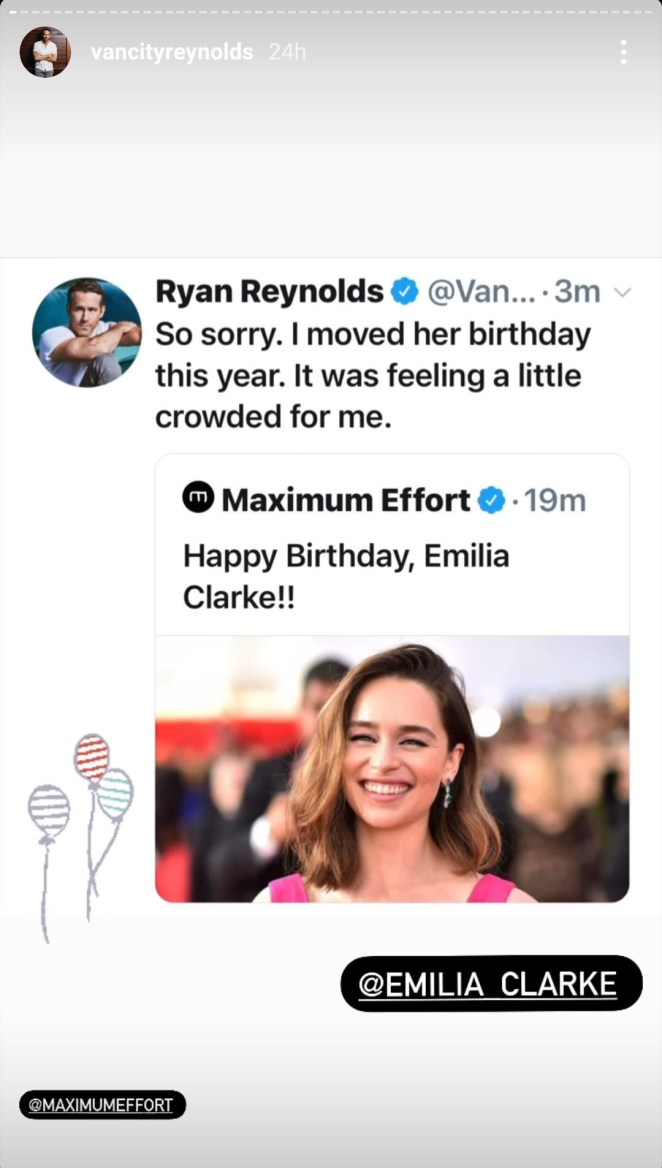 Ryan shares his tweet about moving Emilia's birthday on his Instagram story and tags Emilia