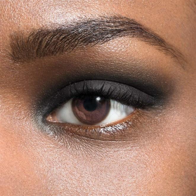 Model wearing Julep eye shadow in the shade onyx