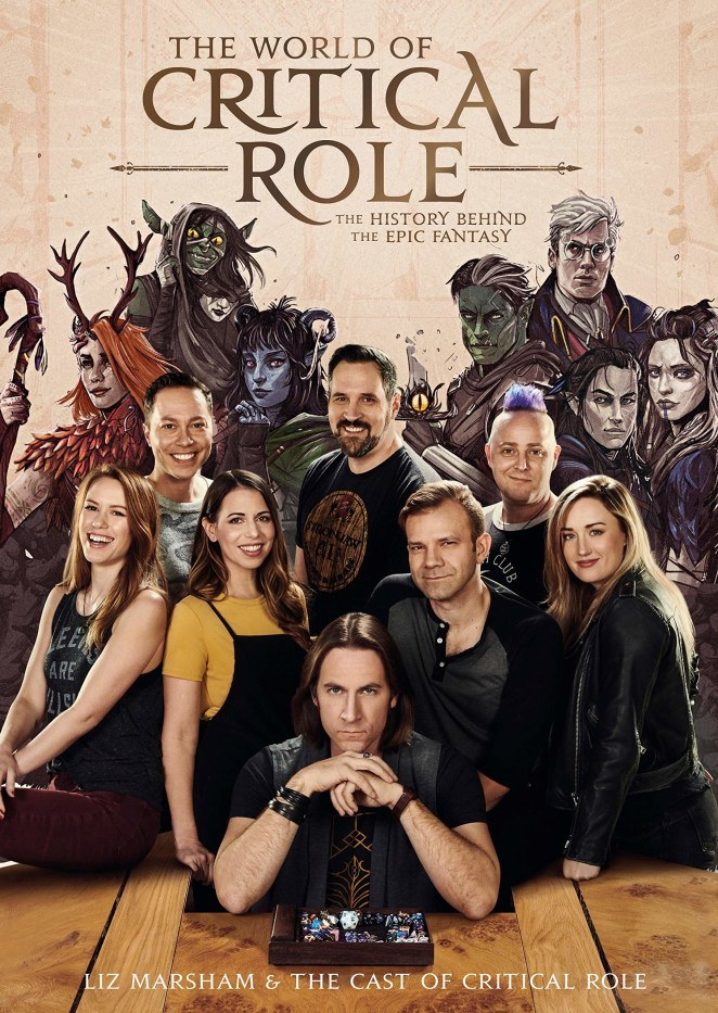 the cast on the cover of the book in front of their illustrated characters