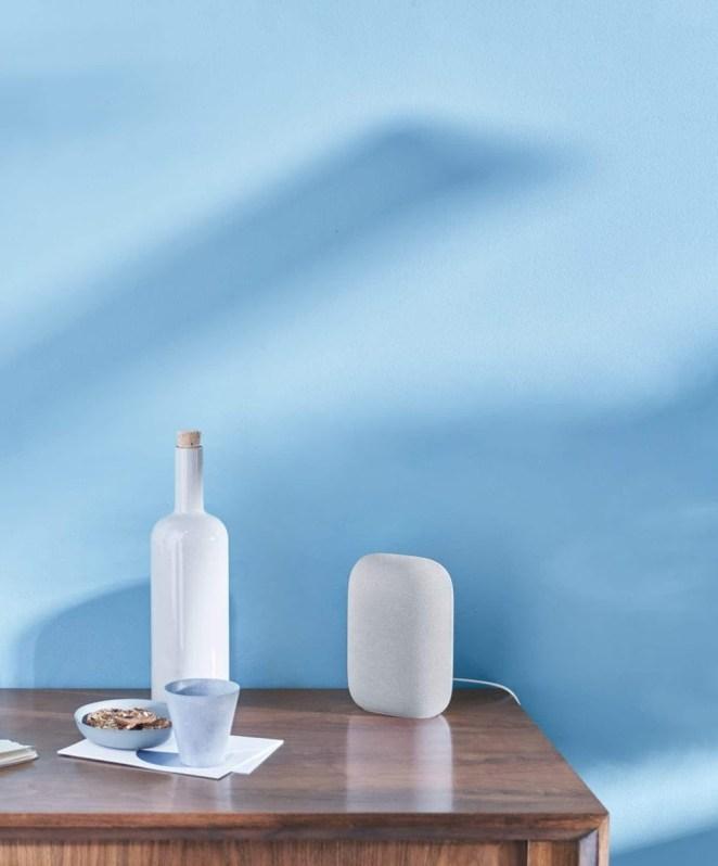 the google nest speaker in blue