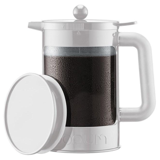 A silver coffee maker