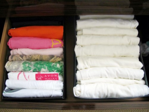 Use old shoe boxes as drawer organizers.