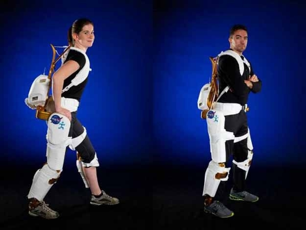 The X1 Robotic Exoskeleton weighs in at 57 lbs. and contains four motorized joints along with six passive ones. With two settings, it can either hinder movement, such as when helping astronauts exercise in space, or aid movement, assisting paraplegics with walking.