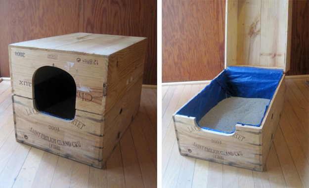 Recycled Wine Case Litter Box Found At Apartment Therapy