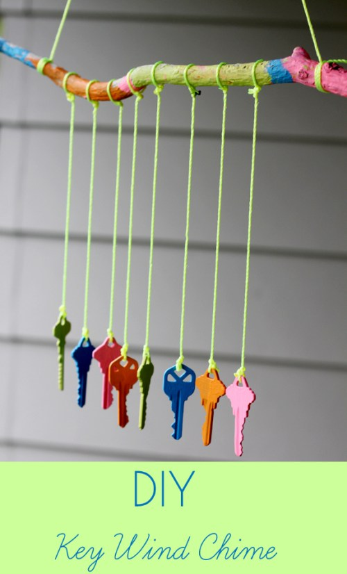 Make a wind chime out of old keys and acrylic paint.