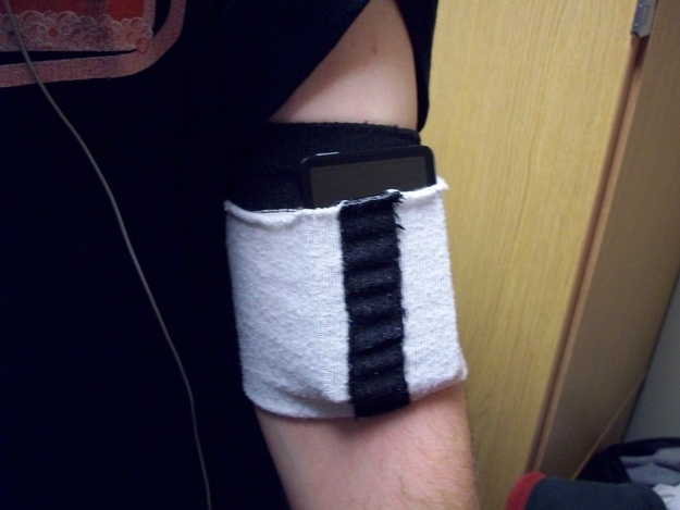 Make a quick jogging band for your music out of a sock.
