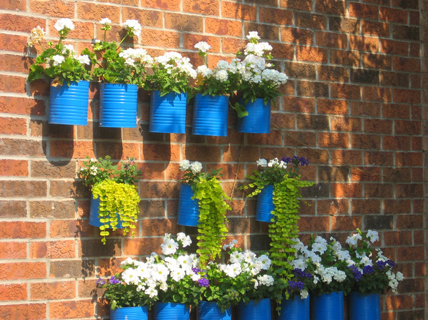 Recycled Can Wall Planters
