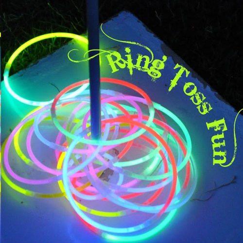 Use glow necklaces and glow bracelets for a few rounds of night time ring toss.