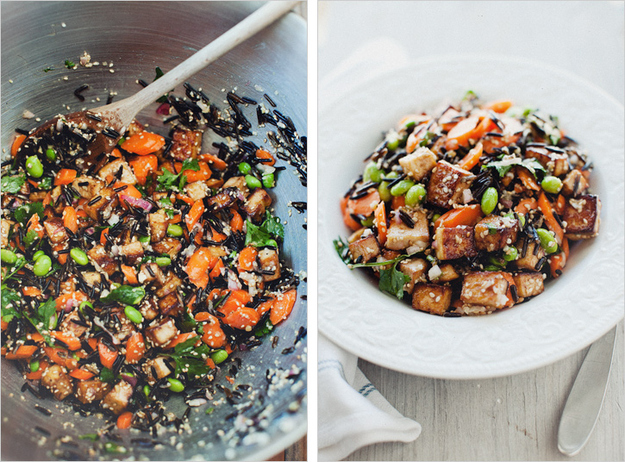 Wild Rice & Tofu Salad with Miso Dressing