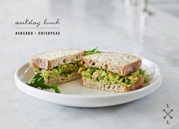 Tuesday Lunch: Avocado & Chickpea Sandwich