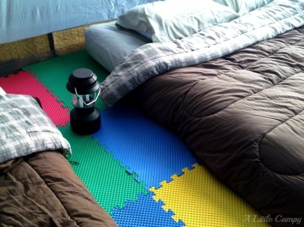 Use foam floor tiles for a softer, more comfortable tent floor.