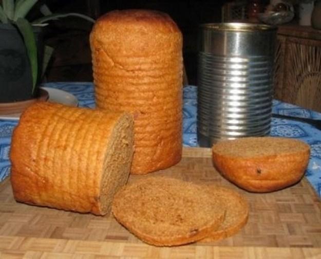Make tin-can sandwich bread as a portable food option.
