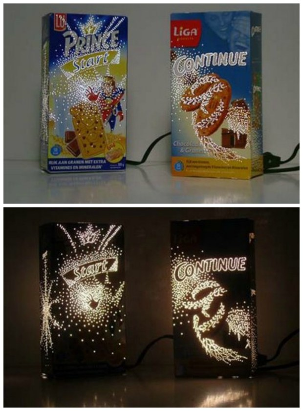 Awesome ways to recycle cereal boxes. Lamp made from cereal box and design punched out with a push pin! How clever!