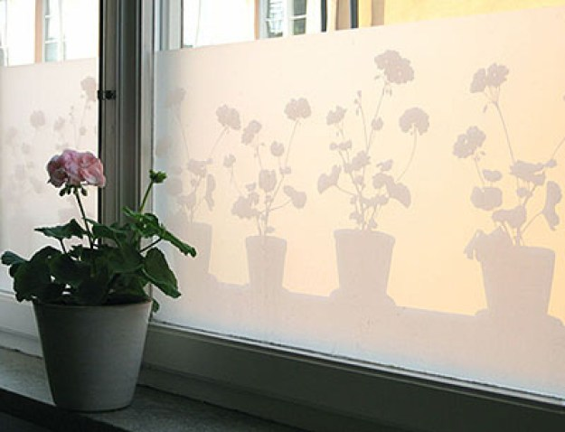 Cover your windows with frosty film.