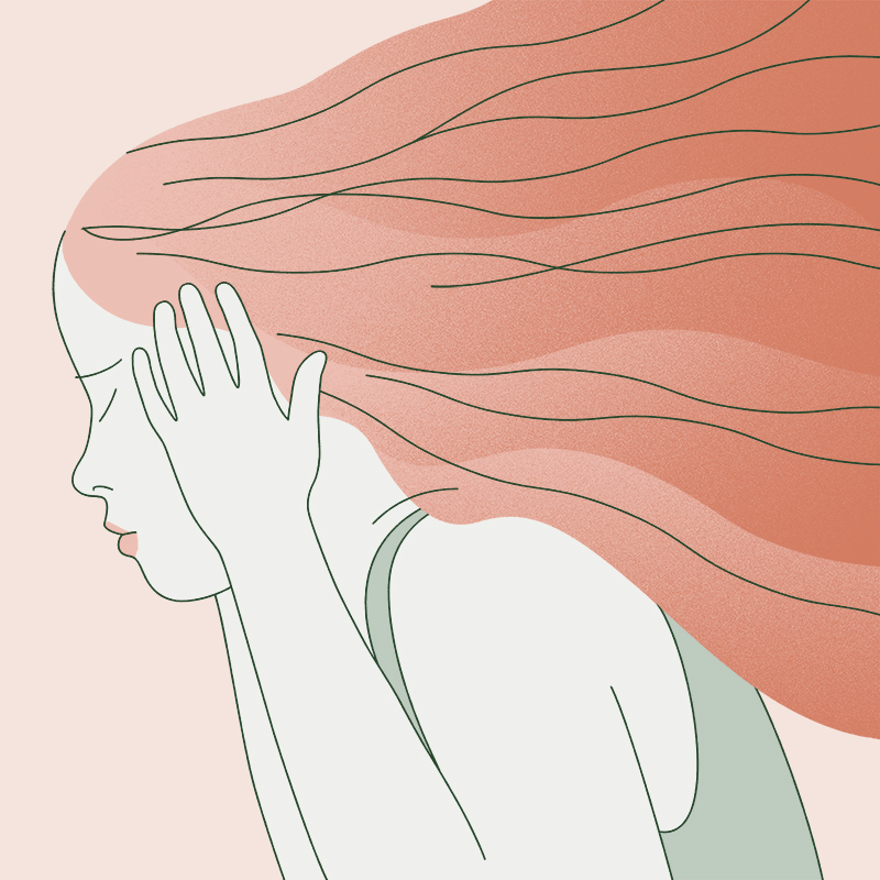Illustration of a person gripping the sides of their head in pain.