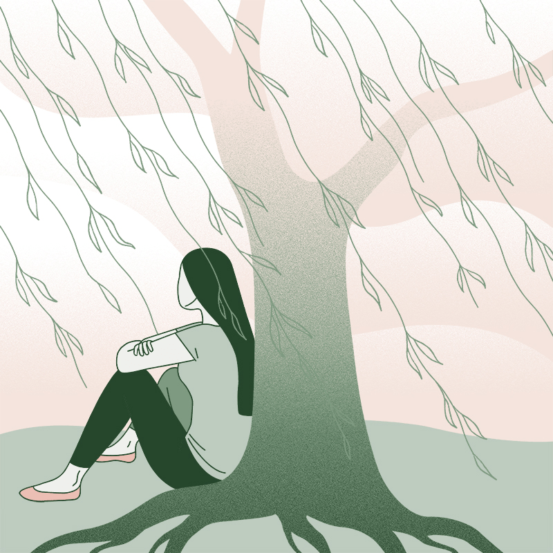 Illustration of a person sitting under a tree, looking off into the distance.