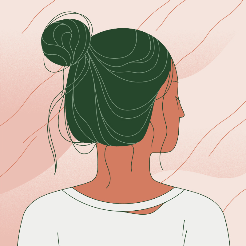 Illustration of a person with oily, unkempt hair.