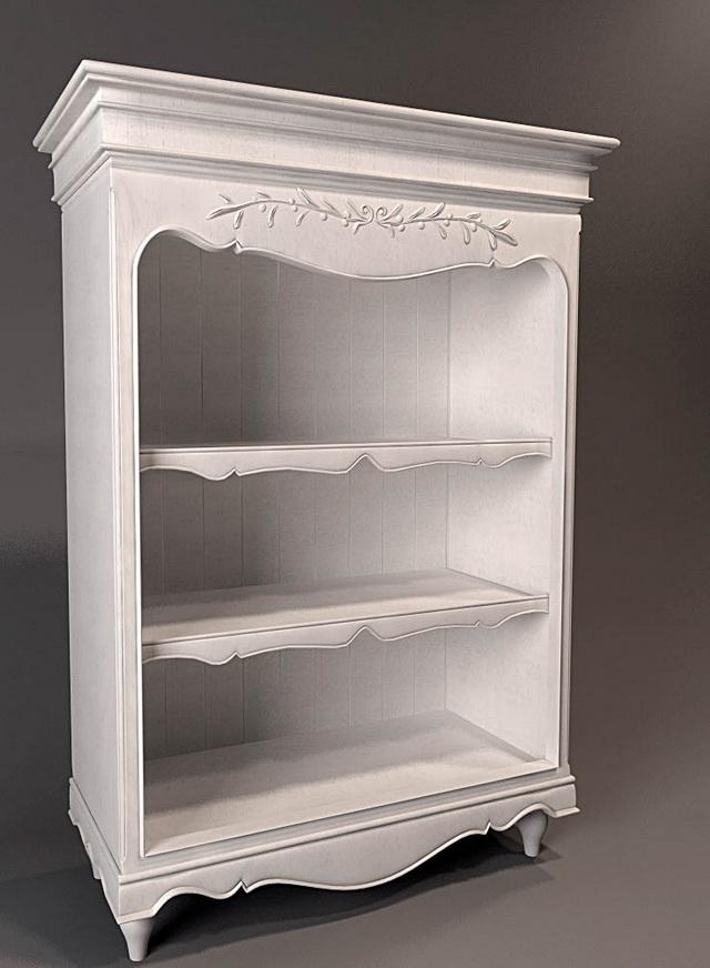 White Antique Bookshelf 3d Model 3dsmax Files Free