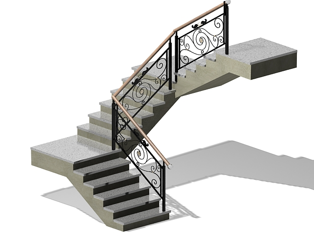 Indoor Concrete Staircase 3d Model 3ds Max Files Free