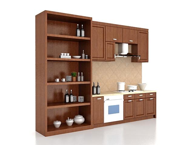 Straight Modular Kitchen 3d Model 3ds Max Files Free