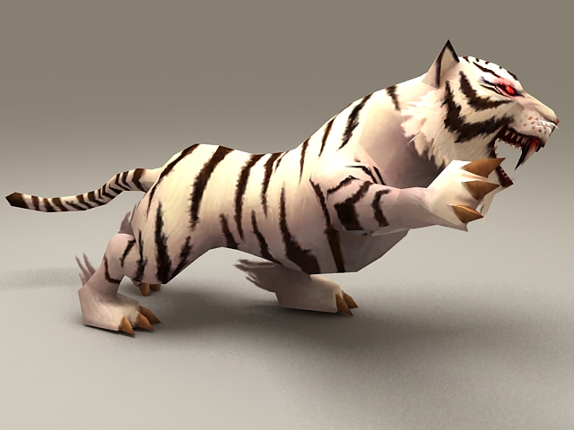 White Tiger Rigged Amp Animated 3d Model 3ds Max Files Free