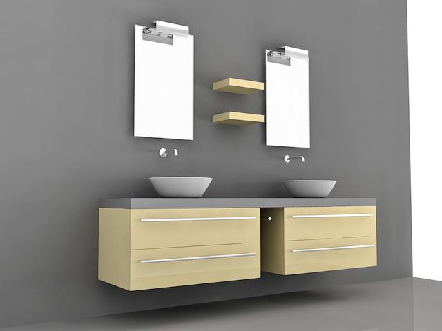 Double Vessel Sink Bathroom Vanities 3d Model 3D Studio