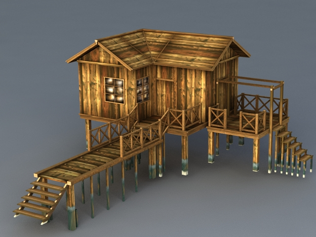 Old Wood Beach Cabin 3d Model 3ds MaxColladaObject Files