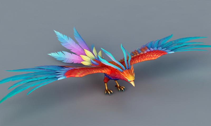 Rainbow Phoenix Bird 3d Model 3ds Max Files Free Download