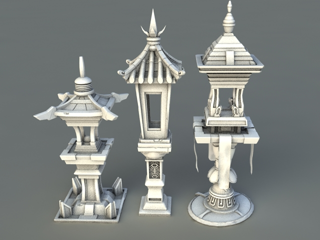 Chinese Garden Lanterns 3d Model 3ds Max Files Free
