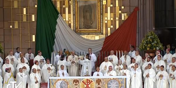 Papa Francisco durante a Missa no Santuário de Nossa Senhora de Guadalupe, no México./ Foto: Reprodução CTV
