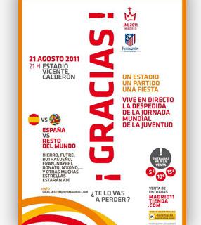 cartaz da partida de futebol beneficente de encerramento da JMJ 2011