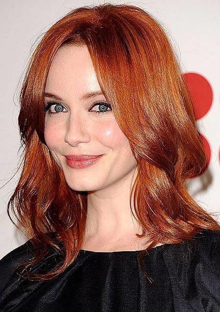 Christina Hendricks Layered Medium Hairstyle Casual