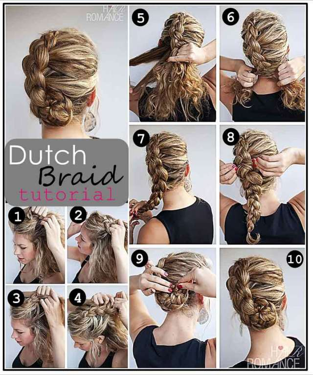 dutch braid updo hairstyle tutorial - casual - careforhair.co.uk