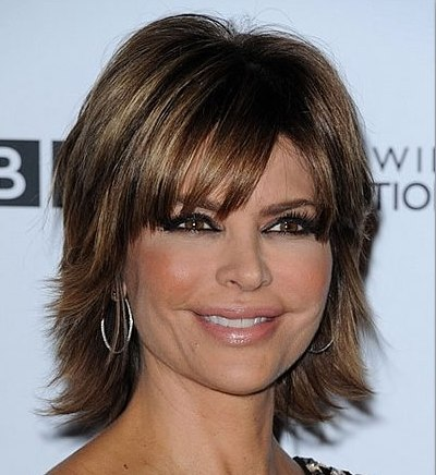 Lisa Rinna Thick Choppy Layered Hairstyle Party Evening